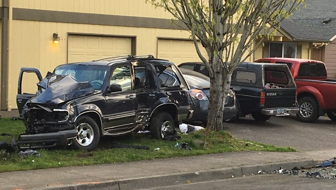 Ablack Ford Explorer was traveling in a reckless manner east on Mahrt Avenue SE and collided with a black Toyota along with two parked cars around 4:50 a.m. Saturday, April 21, 2018.