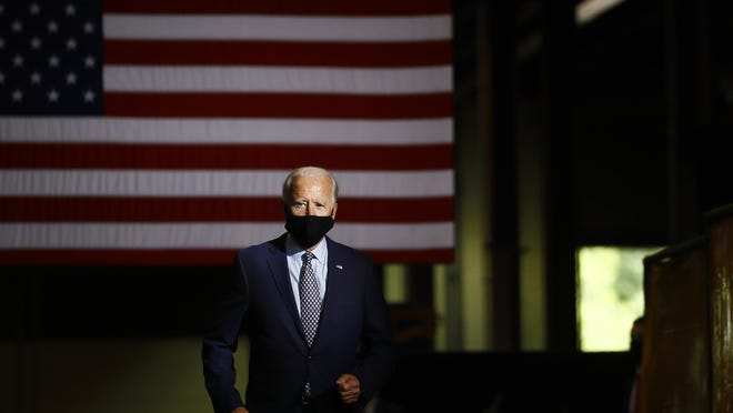 FILE - In this July 9, 2020, file photo Democratic presidential candidate former Vice President Joe Biden arrives to speak at McGregor Industries in Dunmore, Pa.