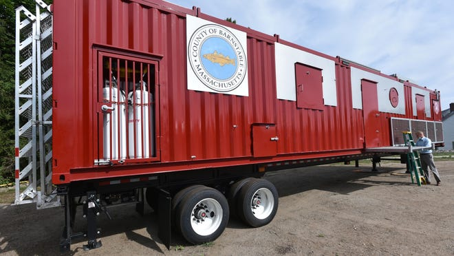 A new mobile fire training trailer arrived recently at the Barnstable County Complex. The trailer can be set up to simulate a variety of fires on land and sea.