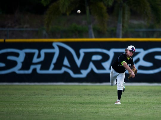 Drake Dobyanski throws the ball infield during the class 7A regional final game against Land O'Lakes-Sunlake at Gulf Coast High School on Tuesday, May 23, 2017.