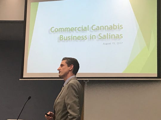 Salinas Economic Development Manager Andy Myrick addresses City Council on Tuesday night on the amended cannabis ordinance.