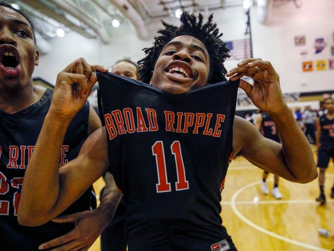 Broad Ripple Rockets' Xavier White (11) celebrates