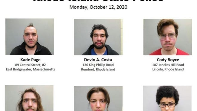 Booking photos from Rhode Island State Police show protesters arrested after traffic was blocked on Route 95 in Providence, Rhode Island, as part of a protest over Columbus Day, Monday, Oct. 12, 2020.