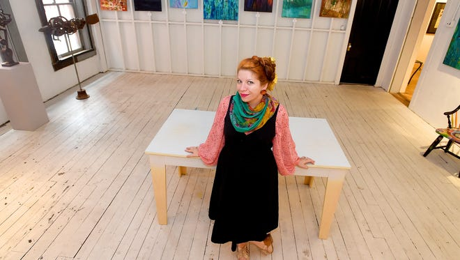 """Carmel Clavin is photographed within space she would love to see used as a collaborative space in downtown Staunton catering to the performance arts community. She's calling the endeavor """"The Kettle,"""" and if it happens, would be located in space next to The Artisans Loft above Staunton Antiques Center."""