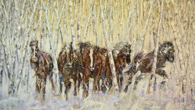 """WIld Horses in Snow"" by Haywood County Arts Council member Sun Sohovich."