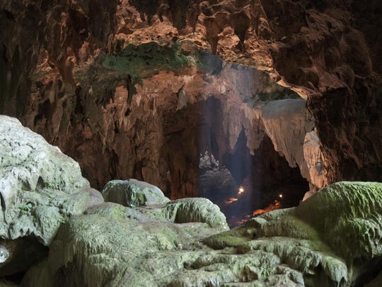 This undated photo shows Callao Cave on Luzon Island of the Philippines, where the fossils of Homo luzonensis were discovered. This view is taken from the rear of the first chamber of the cave, where the fossils were found, in the direction of the second chamber.
