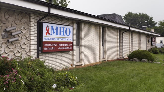 The office of Dr. Farid Fata is seen in Oak Park, Mich., Monday, Aug. 12, 2013.