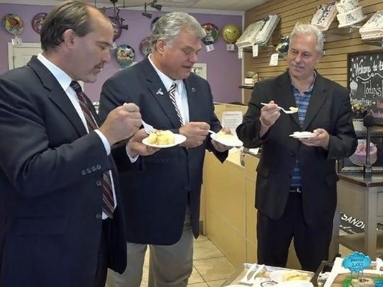 Edison Mayor Tom Lankey is joined by Councilmen Joe