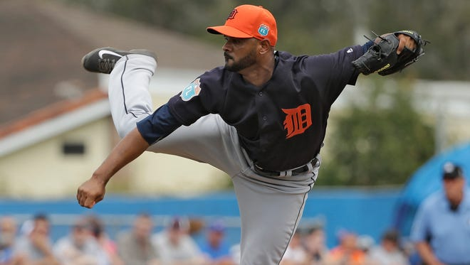 Tigers pitcher Lendy Castillo pitched one and two-thirds scoreless relief against the Jays Thursday.