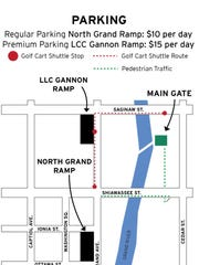 A map of parking for Common Ground.