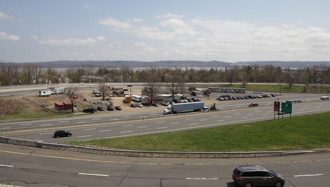The looping New York State Thruway Exit 10 in South Nyack, at the foot of the Tappan Zee Bridge, is being employed as a construction staging area during the construction of a new dual-span crossing.