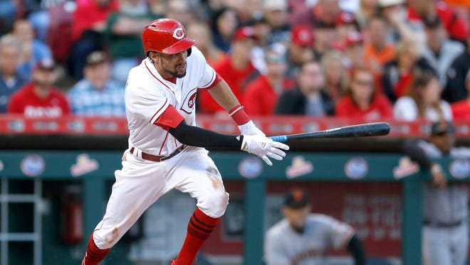Cincinnati Reds center fielder Billy Hamilton hits a two-run double against the San Francisco Giants during the second inning.
