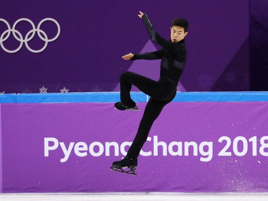 United States' Nathan Chen performs in the men's single short program team event at the 2018 Winter Olympics in Gangneung, South Korea, Friday, Feb. 9, 2018. (AP Photo/David J. Phillip)