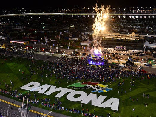 Fireworks go off during driver introductions prior to the start of the Sprint Unlimited at Daytona International Speedway on Feb. 15.