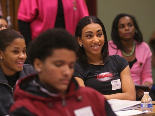Student Nicole Tirado, center, joins others at the program. The Nu Xi chapter of the AKA Sorority, the oldest sorority founded by African-American women launches a mentoring program for high school students, at RVCC in Branchburg.
