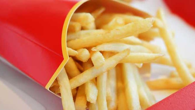 A red carton of french fries.