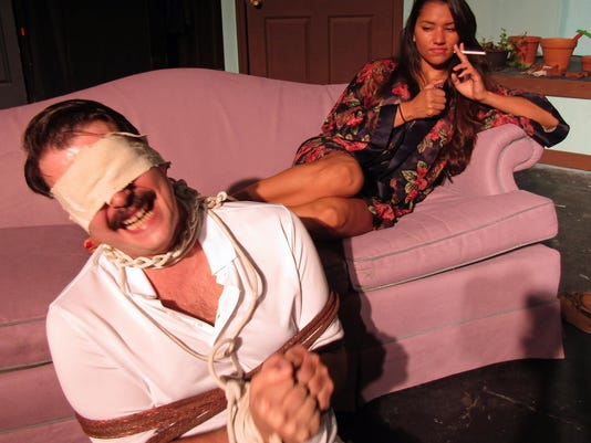 Matthew Paul and Madison Gomez rehearse a scene from Extremities