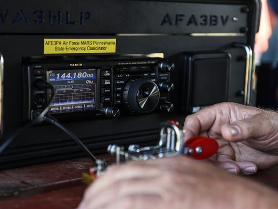 Randy Maurer of Ephrata uses morse code to try and
