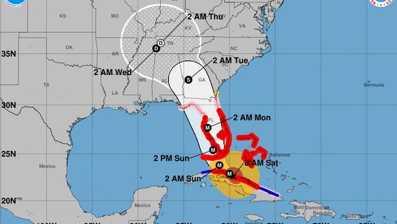 This map, provided by the National Hurricane Center,