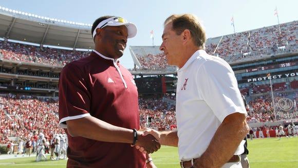 Alabama coach Nick Saban, here shaking hands with Texas