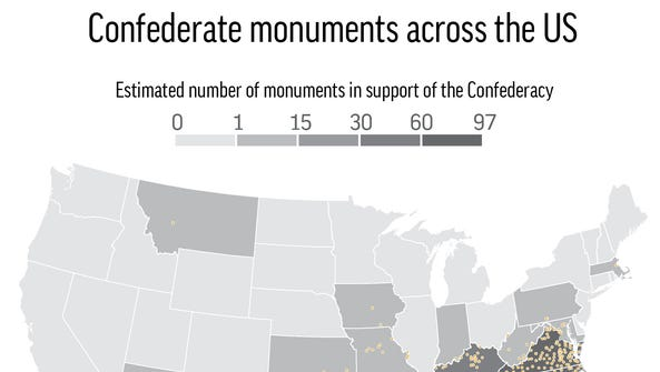 Map locates and totals up the estimated number of Confederate
