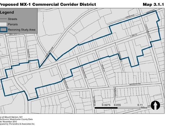 A map of the E. Third Street corridor that city officials are considering rezoning for more housing.