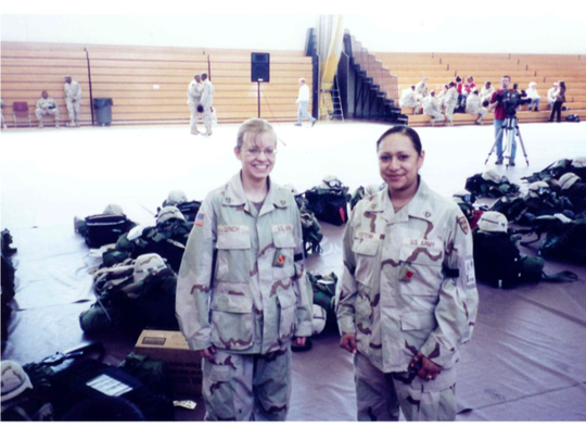 Jessica Lynch with Lori Piestewa prior to their deployment