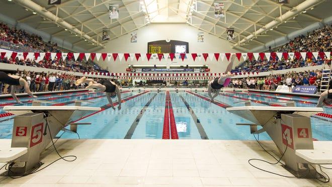 The IUPUI Natatorium, shown here during the 2015 high school girls swimming finals, will host the FINA Junior Worlds Swimming finals.