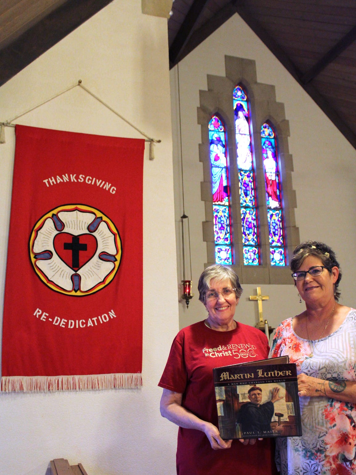 Patricia Dodini, left and Leslie Dunlap, intern pastor at Grace Lutheran Church in Abilene, are planning the observation of the 500th anniversary of the Reformation.