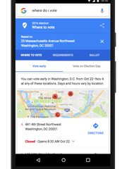 "Search for ""where to vote"" and Google will display"