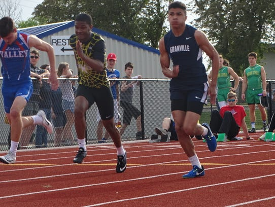 Granville freshman Keshawn Bonner runs the 100 this past Friday during the Licking County League-Buckeye Division finals at Lakewood.
