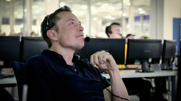 Elon Musk, CEO of Tesla and SpaceX, in a SpaceX control room during a launch