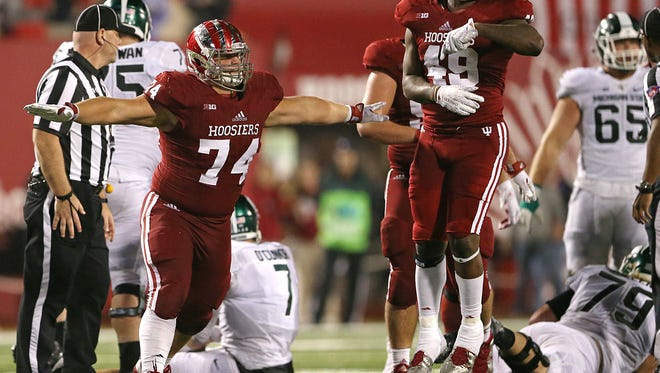 Nate Hoff (74) brings back valuable experience to the Hoosiers' defensive front.