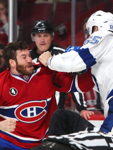 Montreal Canadiens right wing Brandon Prust was kicked