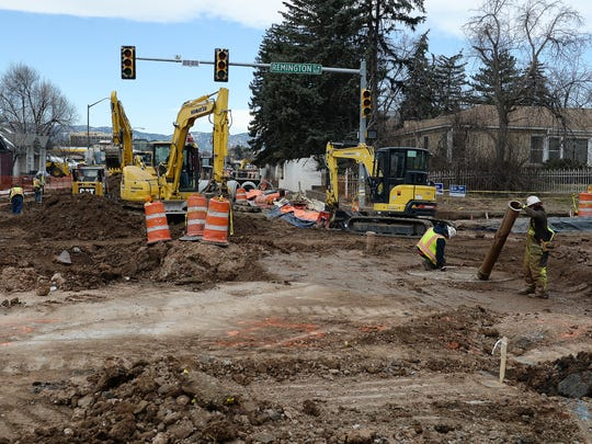 Construction continues at the intersection of Prospect Road and College Avenue.