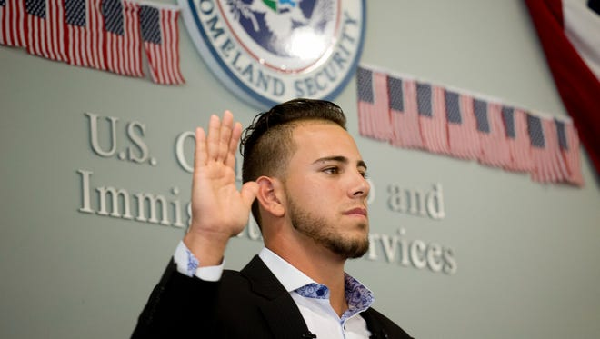 "Miami Marlins pitcher Jose Fernandez takes the ""Oath of Allegiance."""