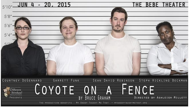 "The poster for ""Coyote on a Fence"" features the four cast members."