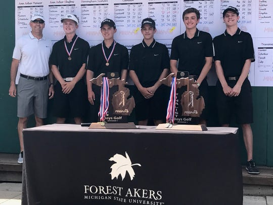 Plymouth finished third at the Division 1 boys golf state meet, June 9-10 at Forest Akers West in East Lansing. From left are coach Dan Young, Jack Boczar, Justin Kapke, Ian Smith, Joe Fontana and Matt Decker.