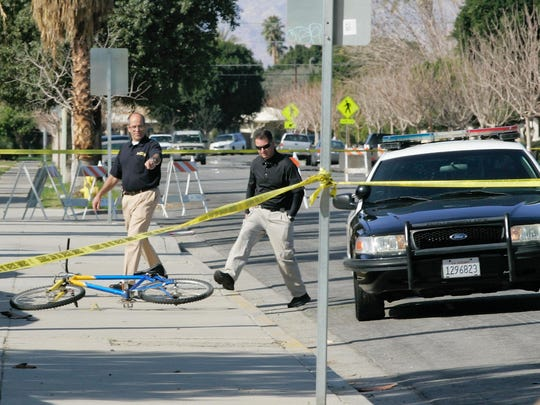 Poliec investigate the scene where Alejandro Rendon was shot to death by an Indio police officer in 2013. The DA's office has released case files from this shooting investigation, but under a new policy, files like those will no longer make public.