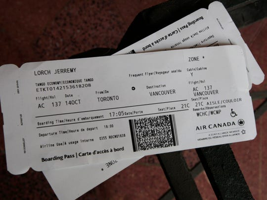 Jerremy Lorch's boarding pass for the Air Canada flight from Toronto to Vancouver, British Columbia.