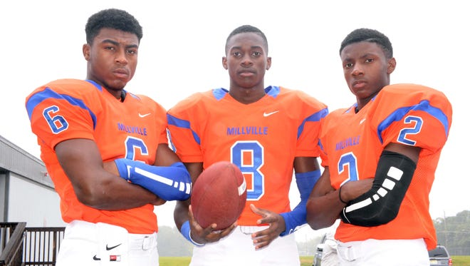 Millville wide receivers (from left) Kyreem Loatman, Chris Harris and Zeke Ennis are off to a fast start for the Thunderbolts this season.