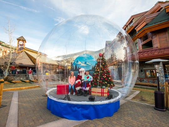 The Santa Snow Globe ranks among the highlights of Heavenly Holidays at Heavenly Mountain Resort in South Lake Tahoe.