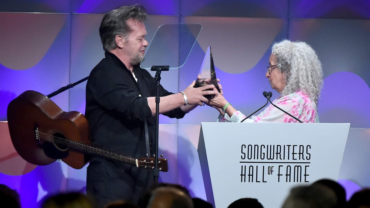 """Indiana rock star John Mellencamp performs """"Jack & Diane"""" as part of Thursday's Songwriters Hall of Fame induction ceremony. Nora Guthrie introduced Mellencamp at New York City's Marriott Marquis."""
