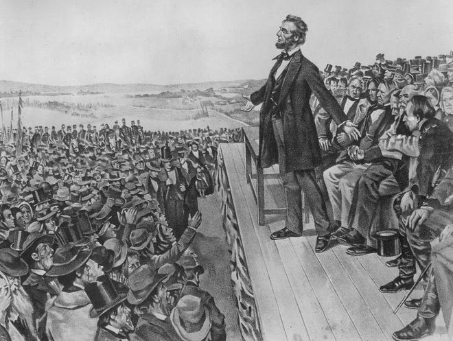 President Abraham Lincoln delivers the Gettysburg Address at the site of the Civil War battlefield in Pennsylvania on Nov. 19, 1863.