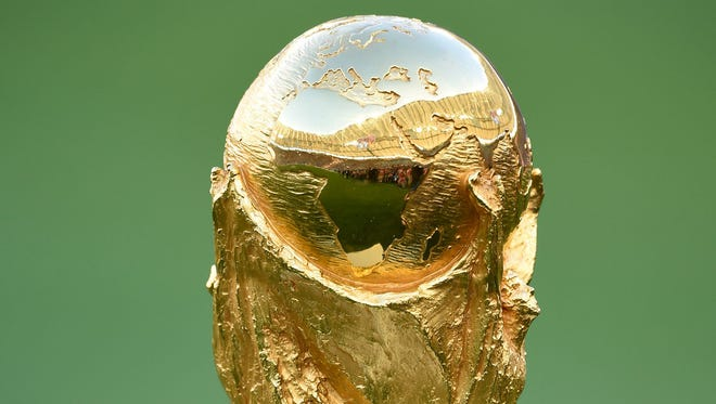 July 13, 2014; Rio de Janeiro, BRAZIL; A view of the World Cup trophy in the championship match of the 2014 World Cup between the Argentina and the Germany at Maracana Stadium.