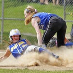 Maine-Endwell's Meaghan Raleigh comes up short as Pearl River's Meagan Woods makes the play at second.