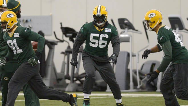 Green Bay Packers linebacker Julius Peppers goes through drills during practice in the Don Hutson Center, Wednesday, January 14, 2015. H. Marc Larson/Press-Gazette Media/@HMarcLarson