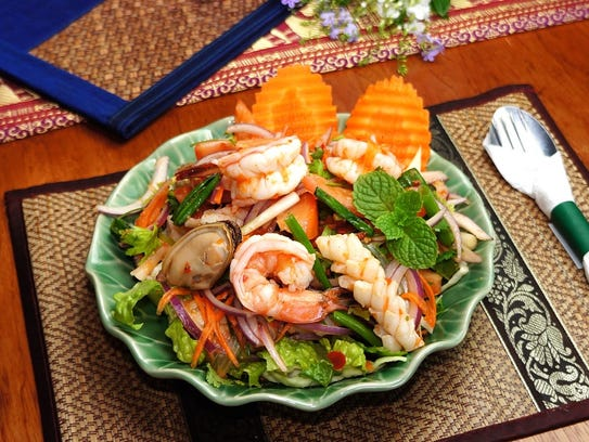 A plate of savory seafood at Ban Thai in Tumon.