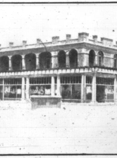 A shot of the San Marcos as it takes shape in Chandler during construction. The hotel was built in 1912-13, opening in November 1913. The original guest rooms today are used as meeting rooms and hotel offices.