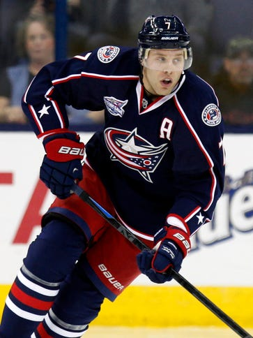 Columbus Blue Jackets' Jack Johnson carries the puck